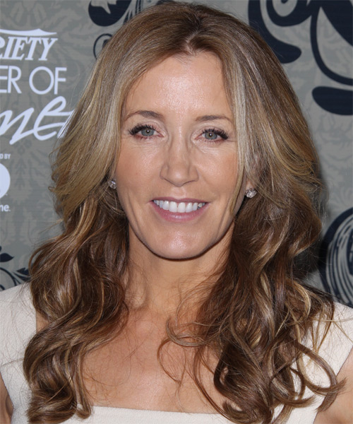 Felicity Huffman Long Wavy Casual    Hairstyle   - Light Champagne Brunette and  Brunette Two-Tone Hair Color with Light Blonde Highlights