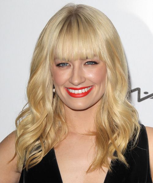 Beth Behrs Long Wavy Casual   Hairstyle with Blunt Cut Bangs  - Light Blonde