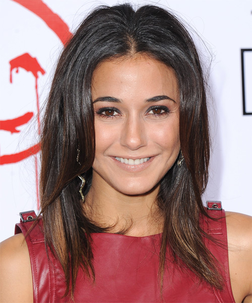 Emmanuelle Chriqui Long Straight Casual   Hairstyle   - Dark Brunette