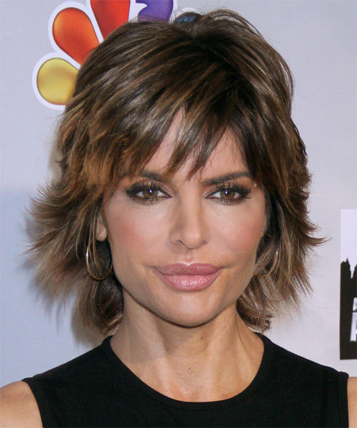Lisa Rinna Short Straight Casual   Hairstyle with Side Swept Bangs  (Mocha)