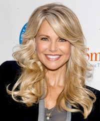 Christie Brinkley Long Wavy Formal    Hairstyle with Side Swept Bangs  - Light Golden Blonde Hair Color with Light Blonde Highlights
