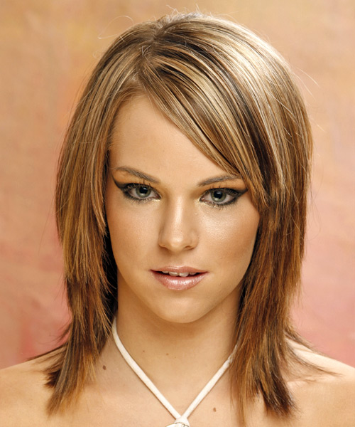 Long Straight Casual   Hairstyle with Side Swept Bangs  - Light Brunette (Golden)