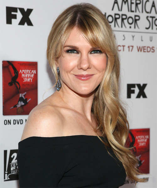 Lily Rabe Long Straight Formal   Hairstyle with Side Swept Bangs  - Medium Blonde (Golden)