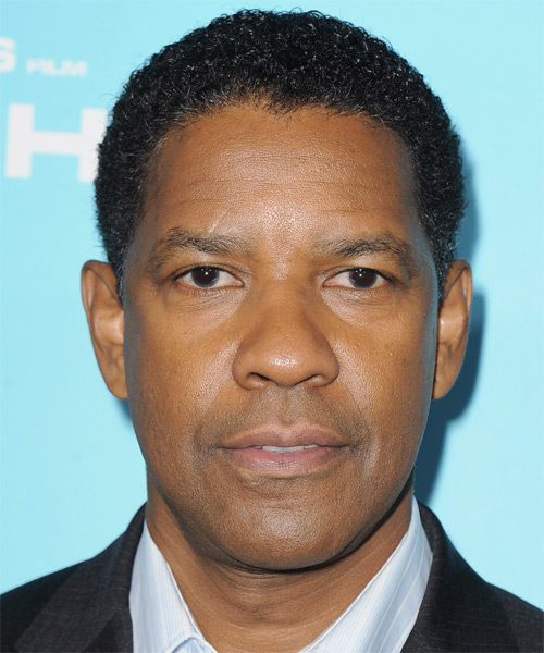 Denzel Washington Short Curly Casual Afro  Hairstyle   - Black