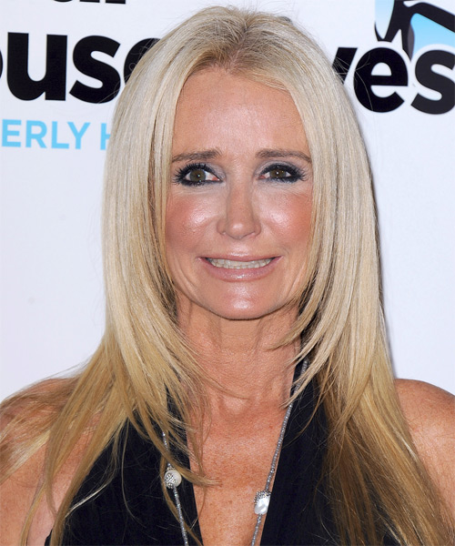 Kim Richards Long Straight Formal    Hairstyle   - Light Platinum Blonde and Medium Blonde Two-Tone Hair Color