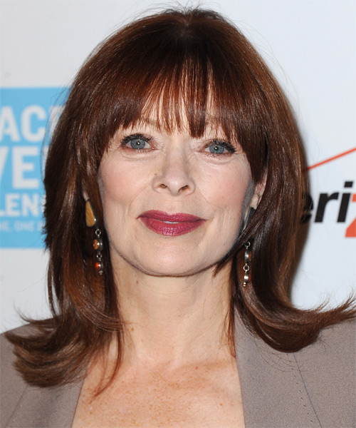 Frances Fisher Medium Straight Casual   Hairstyle with Blunt Cut Bangs  - Dark Red (Mahogany)