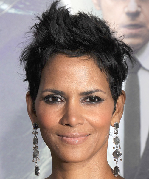 Halle Berry Short Straight Casual    Hairstyle   - Black  Hair Color