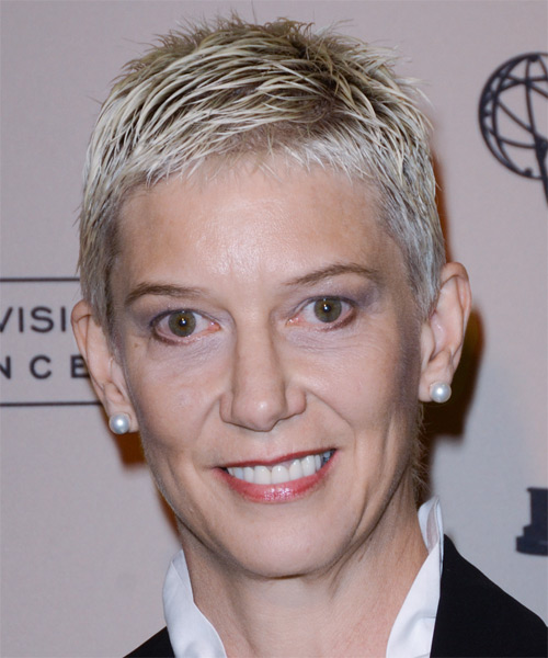 Patricia Kelly  Short Straight   Light Platinum Blonde   Hairstyle