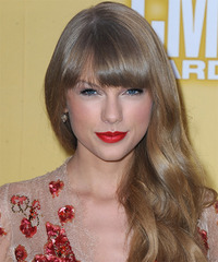Taylor Swift Long Wavy Formal    Hairstyle with Blunt Cut Bangs  - Dark Ash Blonde Hair Color
