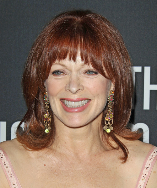Frances Fisher Medium Straight Formal   Hairstyle with Layered Bangs  - Medium Red
