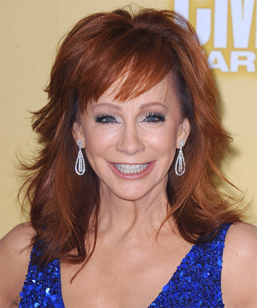 Reba McEntire Medium Straight Formal   Hairstyle with Side Swept Bangs  - Medium Red (Ginger)