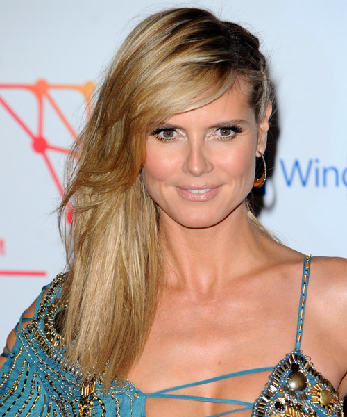 Heidi Klum  Long Straight Casual  Braided Half Up Hairstyle with Side Swept Bangs  - Medium Golden Blonde Hair Color with Light Blonde Highlights