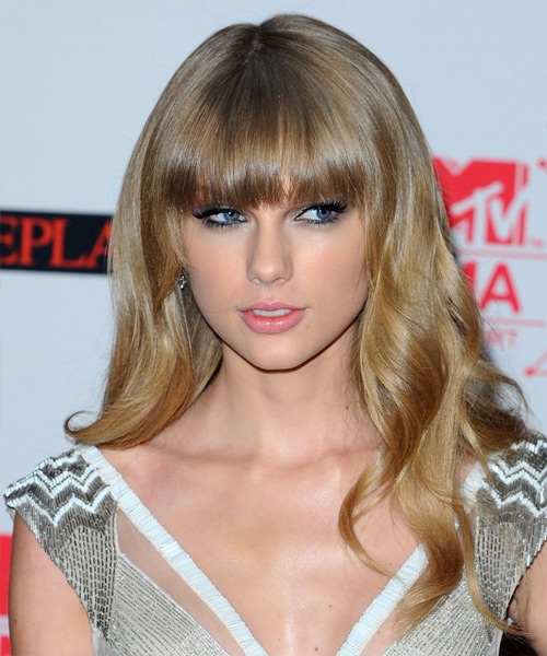 Taylor Swift Long Wavy Casual   Hairstyle with Blunt Cut Bangs  - Medium Blonde (Ash)