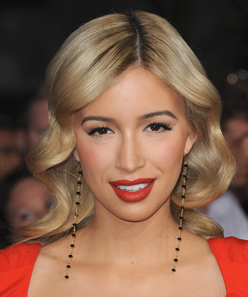 Christian Serratos Medium Wavy Formal    Hairstyle