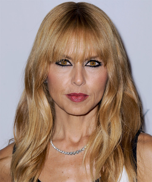 Rachel Zoe Long Straight Casual   Hairstyle with Blunt Cut Bangs  - Dark Blonde (Copper)