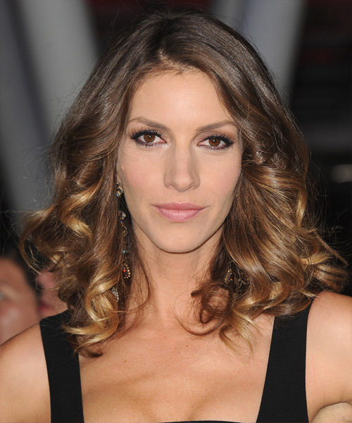 Dawn Olivieri Medium Curly    Golden Brunette   Hairstyle   with Dark Blonde Highlights