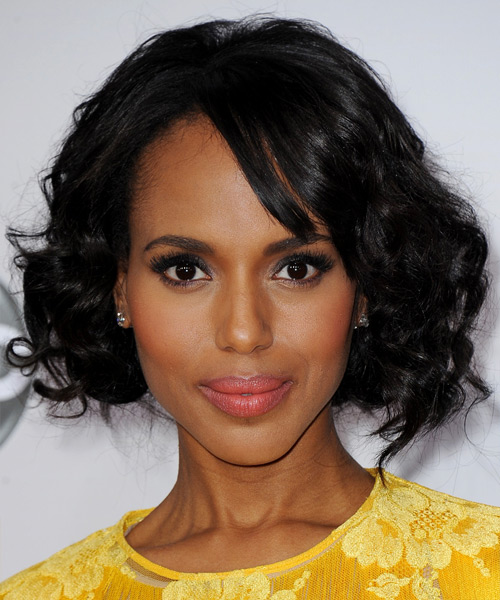 Kerry Washington Medium Curly Casual Layered Bob  Hairstyle with Side Swept Bangs  - Black  Hair Color