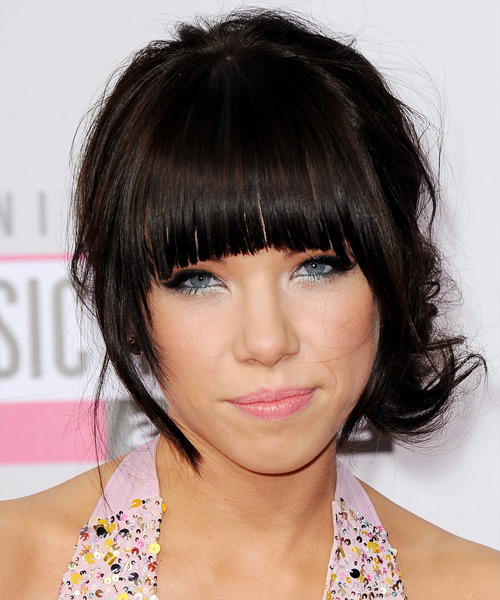 Carly Rae Jepsen  Long Curly Formal   Updo Hairstyle with Blunt Cut Bangs  - Dark Mocha Brunette Hair Color
