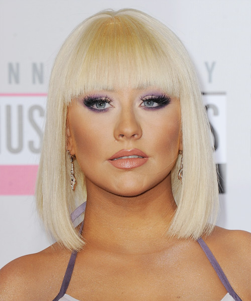 Christina Aguilera Medium Straight Formal Bob  Hairstyle with Blunt Cut Bangs  - Light Blonde