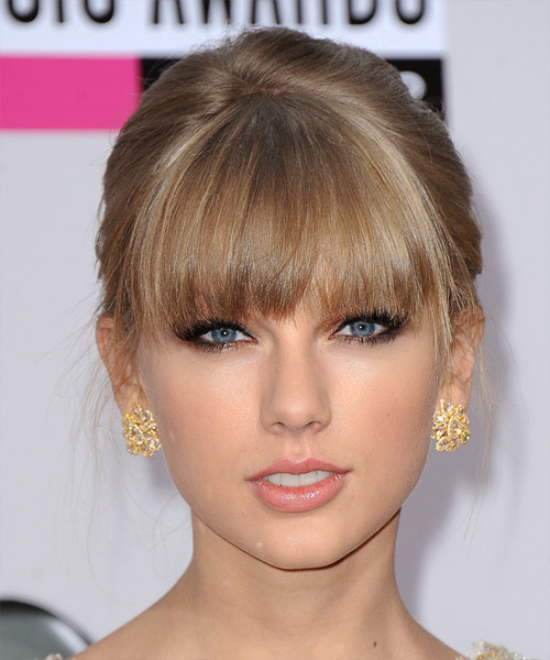 Taylor Swift  Long Straight   Light Caramel Brunette  Updo  with Blunt Cut Bangs