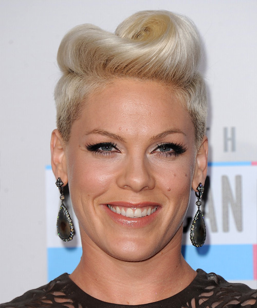 Pink Short Straight Alternative Undercut  Hairstyle   - Light Blonde