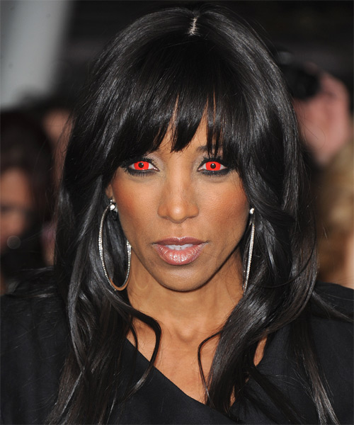 Shaun Robinson Long Straight Casual   Hairstyle with Blunt Cut Bangs  - Black