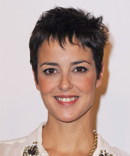 Vega Short Straight Casual   Hairstyle with Layered Bangs  - Dark Brunette