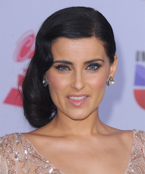 Nelly Furtado Half Up Long Curly Formal Wedding Half Up Hairstyle   - Black