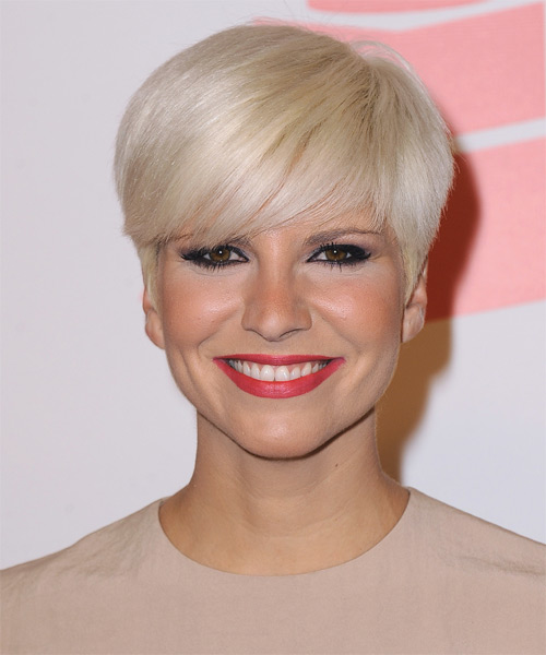 Pasion Vega   Layered  Light Platinum Blonde Pixie  Cut with Side Swept Bangs