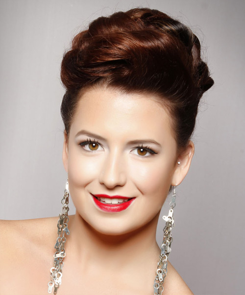 Long Straight Formal   Updo Hairstyle   -  Mahogany Brunette Hair Color