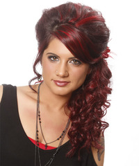 Long Curly Formal   Updo Hairstyle with Side Swept Bangs  - Dark Red Hair Color with Light Red Highlights