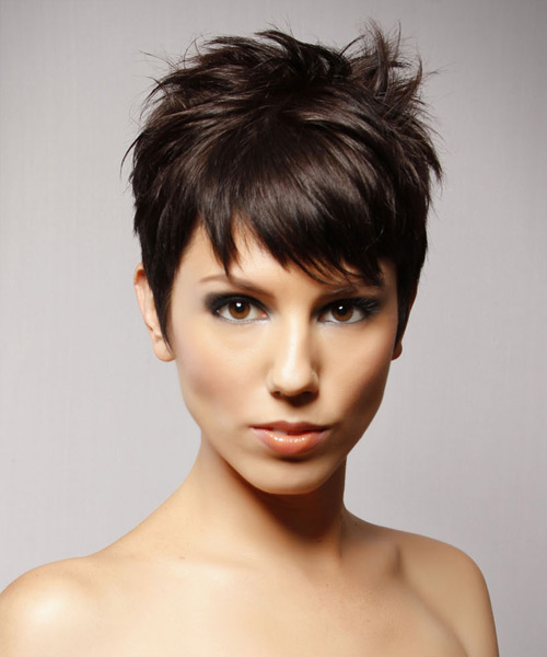 Short Straight Casual    Hairstyle   - Chocolate Hair Color