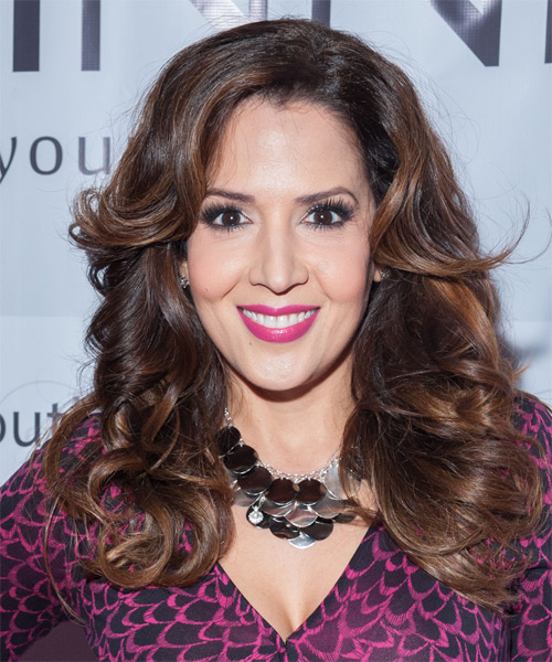 Maria Canals Berrera Long Wavy Formal    Hairstyle   - Dark Mocha Brunette Hair Color