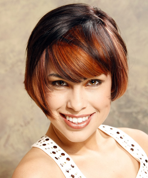 Medium Straight Alternative    Hairstyle with Side Swept Bangs  - Black  and Orange Two-Tone Hair Color