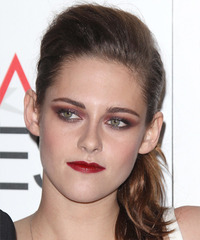 Kristen Stewart  Long Straight Casual   Updo Hairstyle   -  Brunette Hair Color