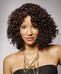 Medium Curly Casual    Hairstyle   - Dark Brunette Hair Color