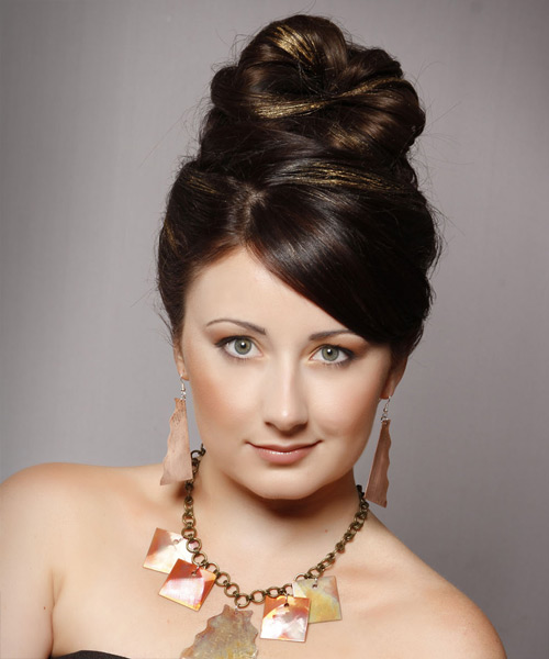 Updo Long Straight Formal Wedding Updo Hairstyle with Side Swept Bangs  - Dark Brunette