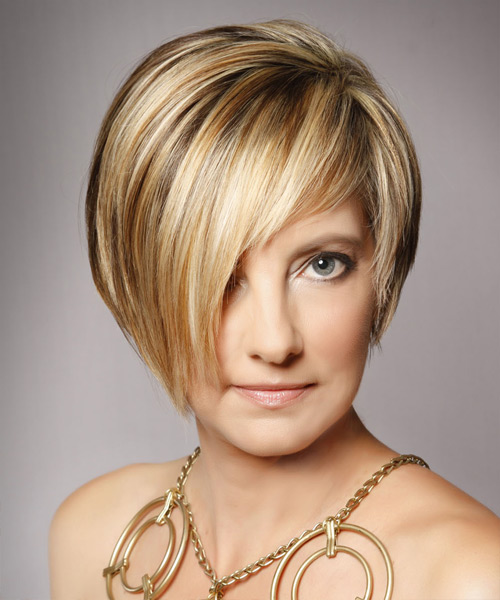 Short Straight Alternative  Asymmetrical  Hairstyle with Side Swept Bangs  - Medium Golden Blonde Hair Color with Light Blonde Highlights