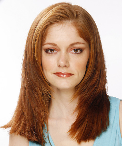 Long Straight    Auburn Brunette   Hairstyle