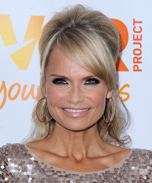 Kristin Chenoweth  Long Curly    Champagne Blonde  Half Up Hairstyle with Side Swept Bangs  and Light Blonde Highlights
