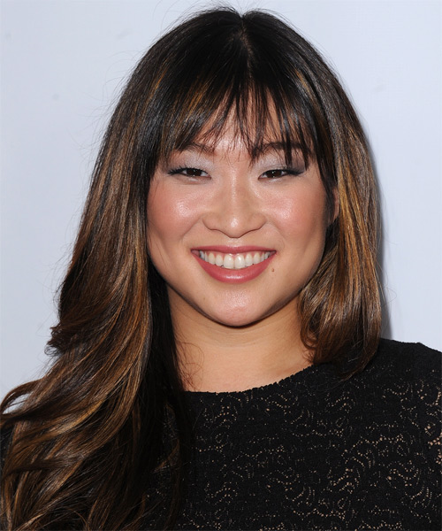 Jenna Ushkowitz Long Straight   Dark Brunette   Hairstyle with Blunt Cut Bangs  and Dark Blonde Highlights