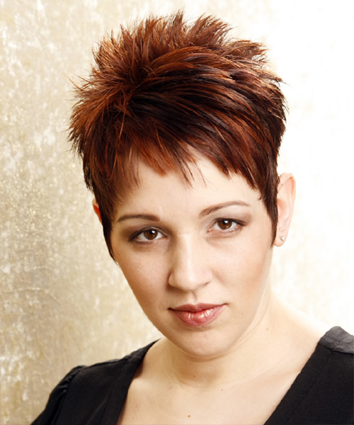 Short Straight Formal   Hairstyle   - Dark Brunette (Mahogany)