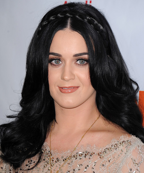 Kerry Perry Long Straight Formal  Braided  Hairstyle   - Black  Hair Color