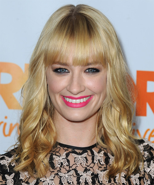 Beth Behrs Medium Wavy Casual   Hairstyle with Blunt Cut Bangs  - Medium Blonde (Golden)