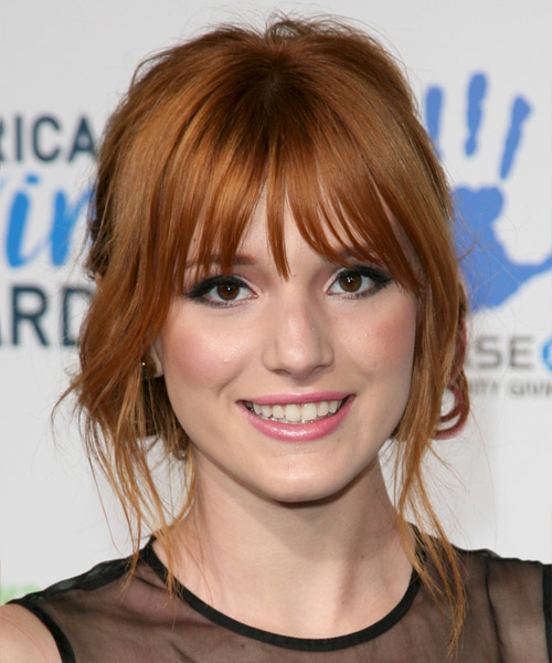 Bella Thorne  Long Straight    Ginger Red  Updo  with Blunt Cut Bangs