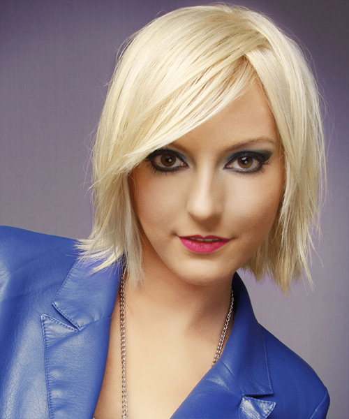 Medium Straight Light Platinum Blonde Hairstyle