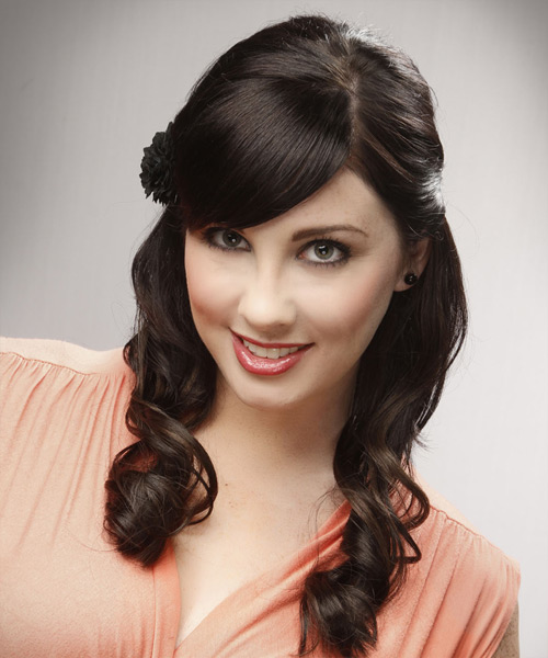 Half Up Long Curly Formal Wedding Half Up Hairstyle with Side Swept Bangs  - Dark Brunette