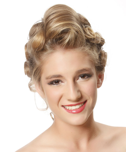 Long Curly   Dark Blonde  Updo    with Light Blonde Highlights