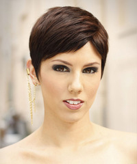 Short Straight Formal  Pixie  Hairstyle with Side Swept Bangs  -  Mocha Brunette Hair Color