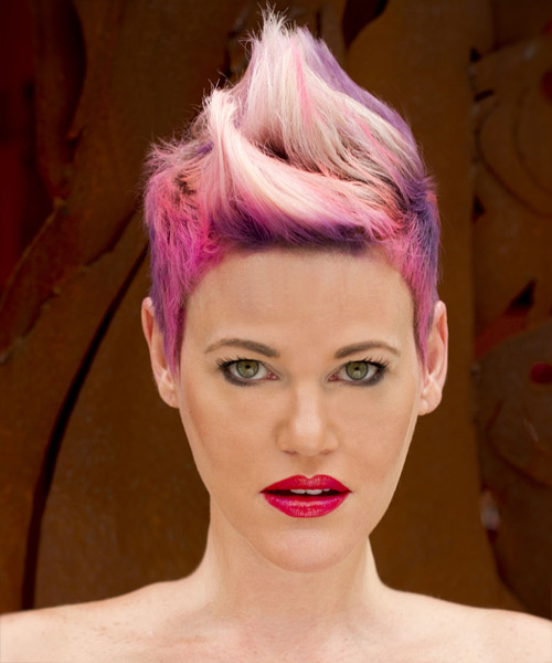 Short Straight Alternative    Hairstyle   - Pink Bright  Hair Color with Purple Highlights